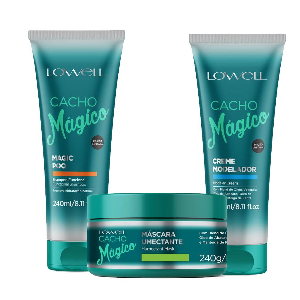 Lowell Kit Cacho Mágico Shampoo, Modelador, Máscara Umectante