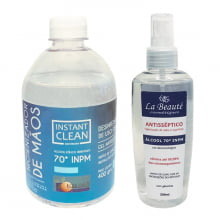 Kit Álcool Gel 400gr + Álcool Antisséptico Spray  200ml 70º INPM